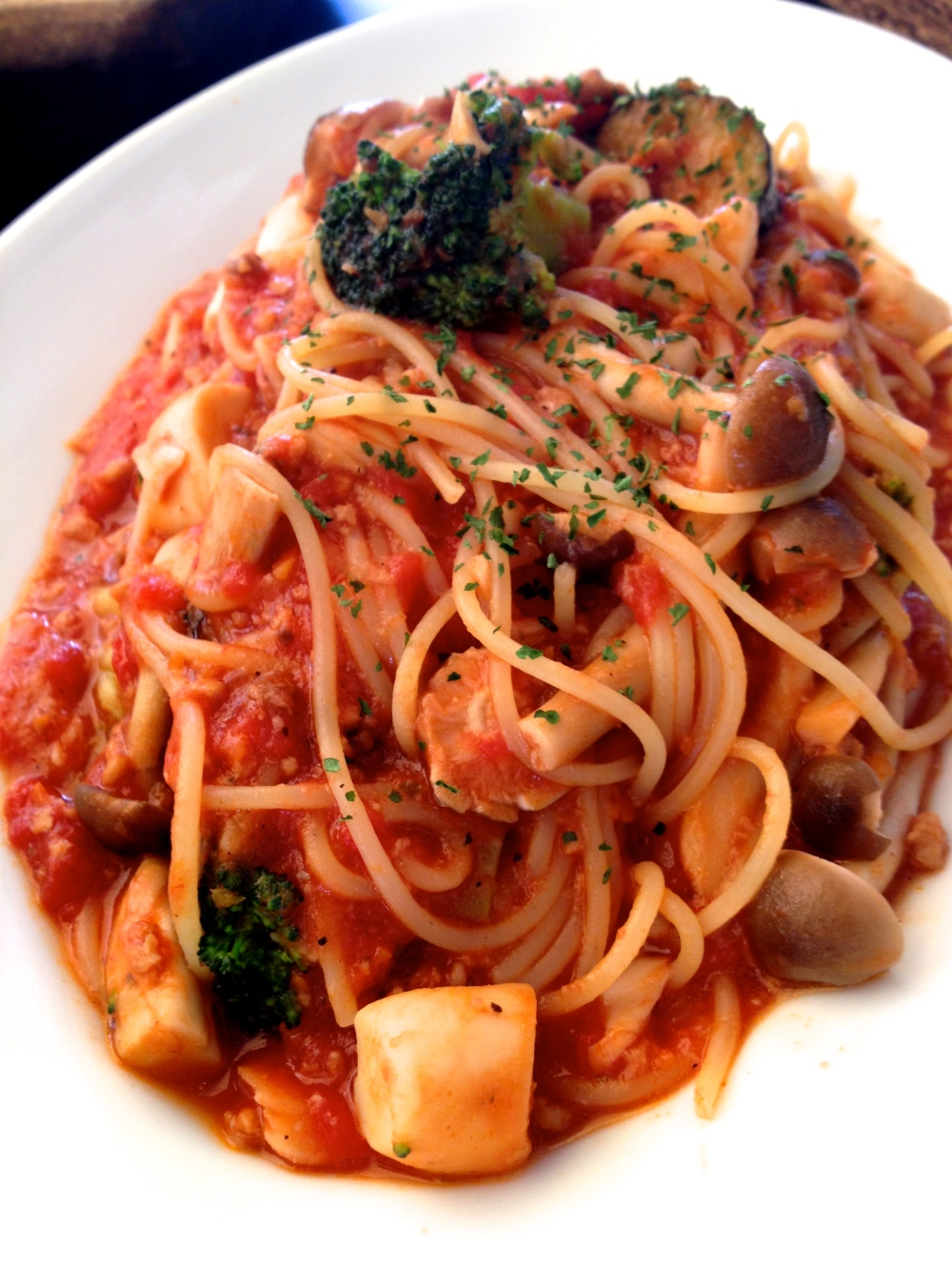 A tomato based seafood pasta