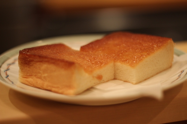 Seared white toast drizzled with honey