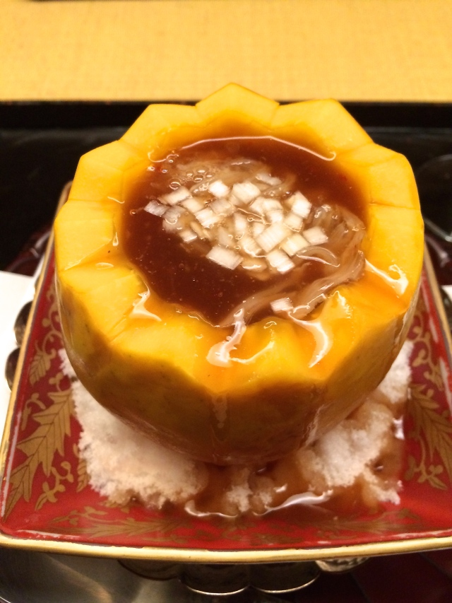 Sharkfin soup in a mango fruit